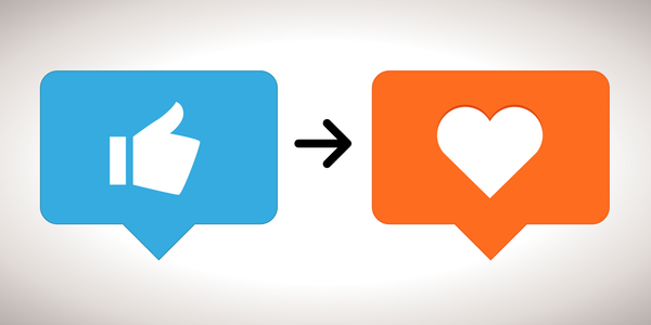 Image of like icon with a arrow moving toward love icon to represent social media open engagement strategy makes consumer and brand camaraderie and making them fall in love with the brand