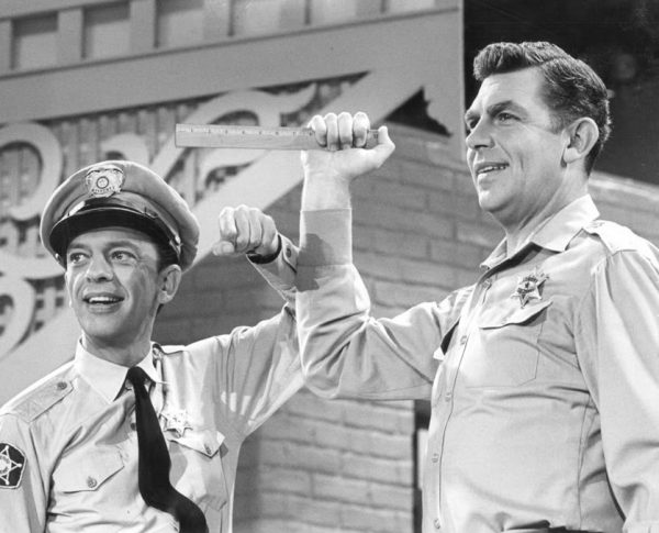 Andy Griffith is holding a ruler at shoulder height while Don Knotts is pointing.  Should you use Advertising ROI or ROAS as a measure?
